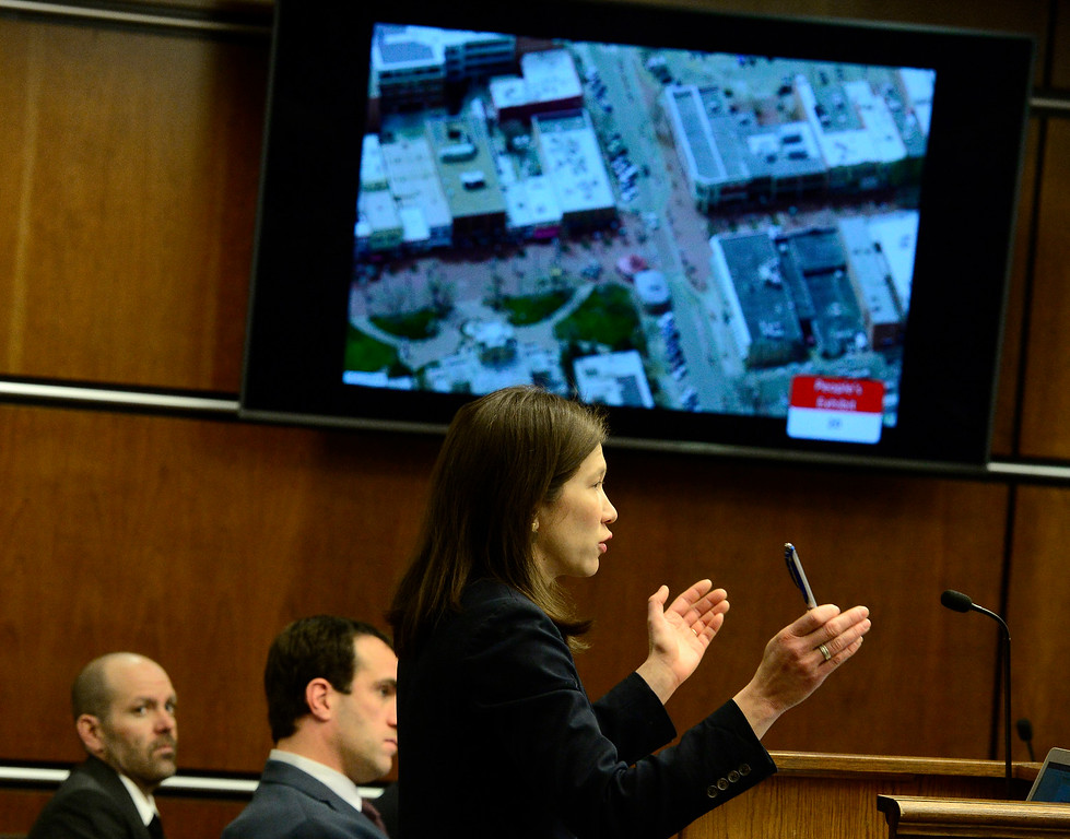 . BOULDER , CO FEBRUARY 12, 2019 Defense Attorneys Nelissa Milfeld stands before an aerial view showing area in Boulder of the Bramble & Hare restaurant during Louise Sebastian\'s trial on a charge of first-degree murder in the May 2017 shooting of Christopher King, 49, on Tuesday at the Boulder County Justice Center. For more photos go to dailycamera.com (Photo by Paul Aiken/Staff Photographer)