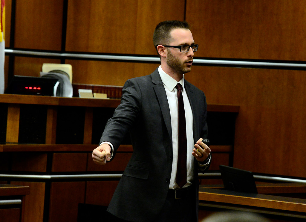 . BOULDER , CO FEBRUARY 12, 2019 Prosecutor Mark Grimaldi mimics the shooting motion that he says Louis Sebastian made when he entered the Bramble and Hare restaurant during Sebastian\'s trial on a charge of first-degree murder in the May 2017 shooting of Christopher King, 49, on Tuesday at the Boulder County Justice Center. For more photos go to dailycamera.com (Photo by Paul Aiken/Staff Photographer)