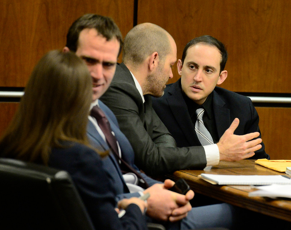 . BOULDER , CO FEBRUARY 12, 2019 Louis Sebastian, speaks with his defense team including Investigator Ian Burnett Tuesday morning during his trial on a charge of first-degree murder in the May 2017 shooting of Christopher King, 49, at the Boulder County Justice Center. For more photos go to dailycamera.com (Photo by Paul Aiken/Staff Photographer)