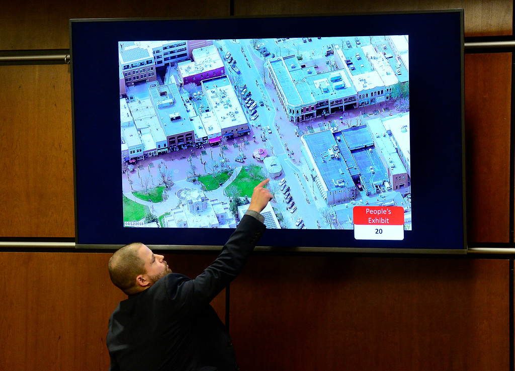 . BOULDER , CO FEBRUARY 12, 2019 Former Boulder Police Officer Joshua DeBough points to an aerial photo of location of the Bramble & Hare restaurant during Louise Sebastian\'s trial on a charge of first-degree murder in the May 2017 shooting of Christopher King, 49, on Tuesday at the Boulder County Justice Center. DeBough recovered a gun round in the area. For more photos go to dailycamera.com (Photo by Paul Aiken/Staff Photographer)