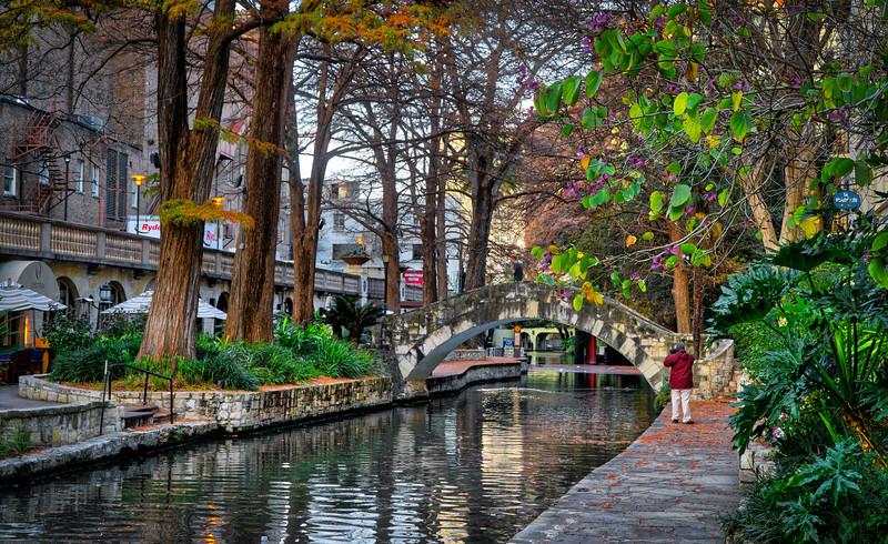 San Antonio River Walk located one story beneath the streets of San Antonio along the banks of the San Antonio River.