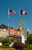 The golden Joan of Arc and horse statue in the French Quarter of New Orleans, Louisiana, USA.