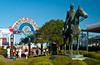The Riverwalk Market gate and Andrew Jackson on horse statue in New Orleans, Louisiana, USA.