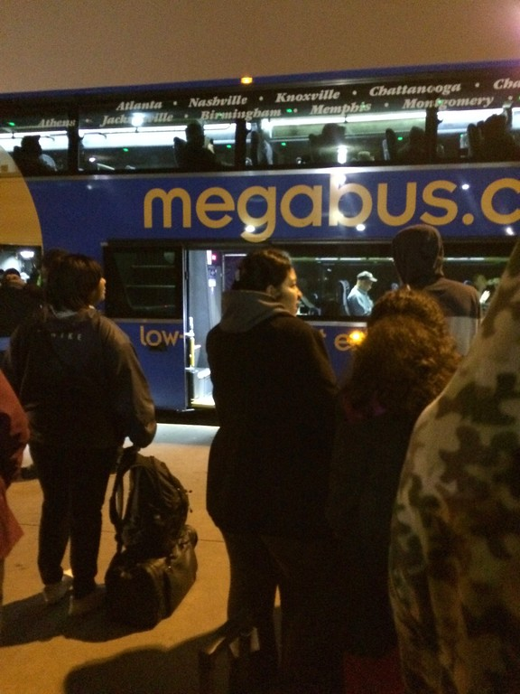 Lining up early for Megabus