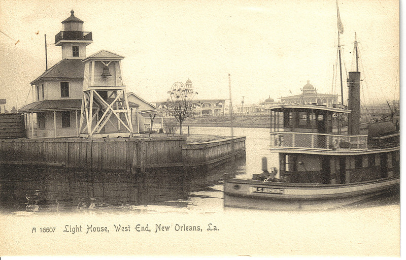 An old postcard view of the New Canal Light showing it in action! This view shows the fog bell tower which was in use at the turn of the century.