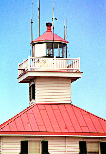 The lantern of the New Canal Light. The fifth order lens was replaced with a plastic optic.