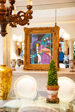 The Dining Room — A painting by Schluss - adds a playfully bright splash of artistic color and vibrancy.