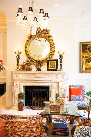 The Reception Room — The perfectly proportioned marble fireplace and mantle add an exquisite ambiance to the room. Ruth Sandbach carefully designed all the fireplaces throughout the house.