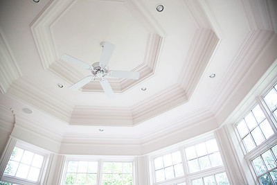 The Sunroom — Those with an observant eye will see that the custom millwork in the ceiling actually mirrors the design in the marble flooring (this design detail is actually throughout house if you pay attention).