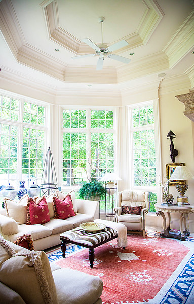 The Sunroom — This is one of the couple's favorite rooms, as they love all the sunlight, as evidenced throughout this light filled home.