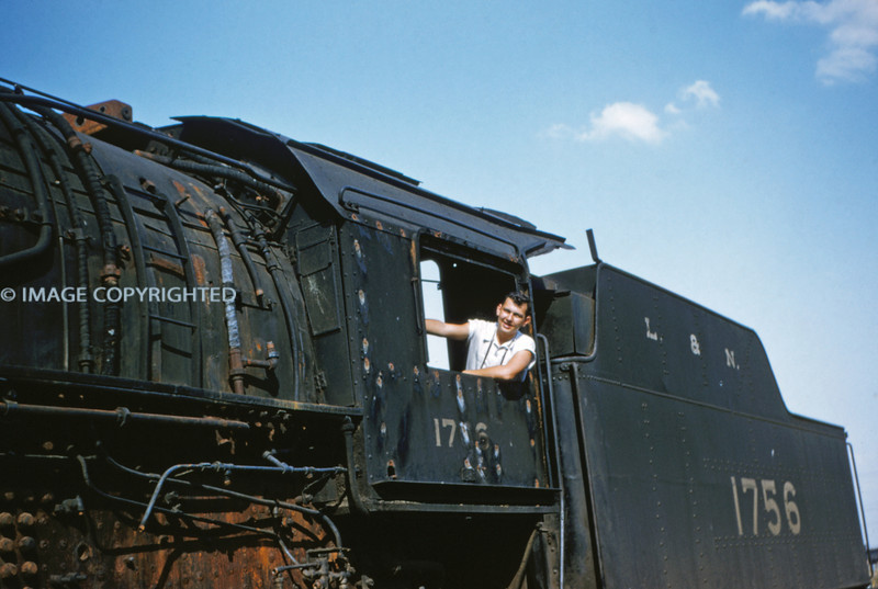 L&N 10 - Sep 19 1954 - Warren R Hertel in cab of 2-8-2 No 1756 - E St Louis ILL