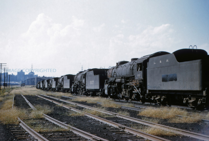 L&N 8 - Sep 19 1954 - 2-8-2's lined up in E St Louis ILL