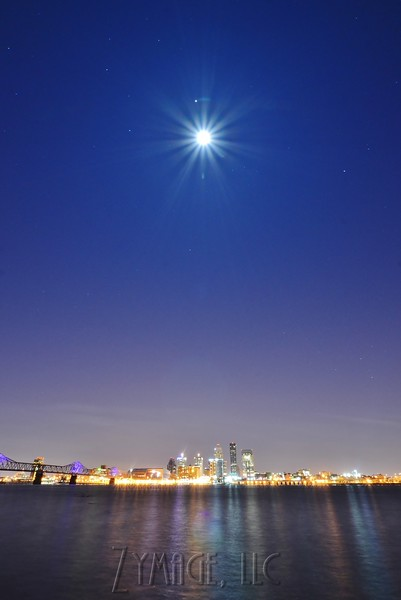 Full Moon over the Louisville skyline and Ohio River as seen from Clarksville, IN.