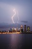 Lightning storm over the downtown Louisville skyline as seen from Southern, IN Friday night. August 22, 2014.