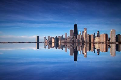 Mirrored Chicago Skyline