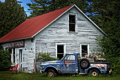 Old Garage and Blue Truck