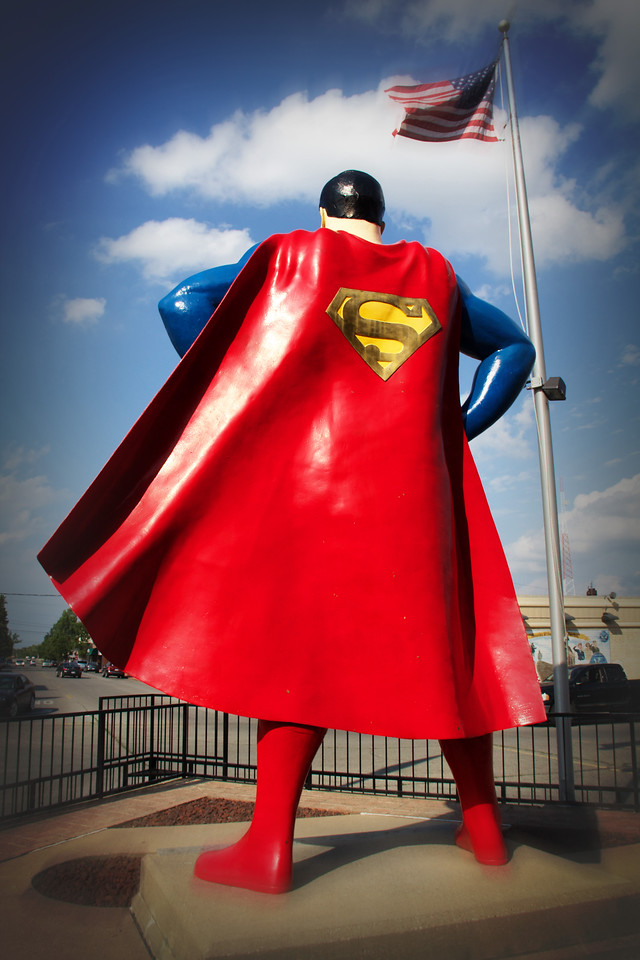 Metropolis Super Man American Flag