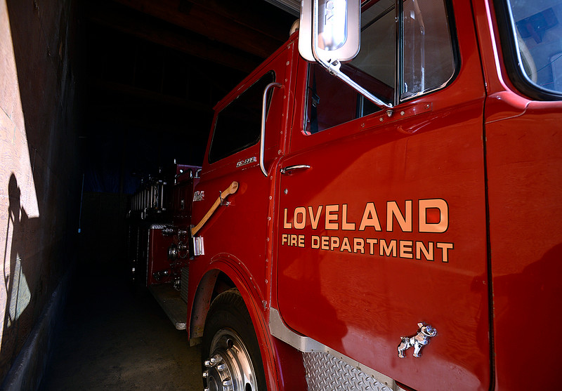A 1969 firetruck, seen Tuesday, Dec. 5, 2017, at the Loveland Fire Rescue Training Grounds. In addition to their collection of antique trucks, they recently purchased a 1952 hand-built ladder firetruck that used to be in service in Loveland.  (Photo by Jenny Sparks/Loveland Reporter-Herald)