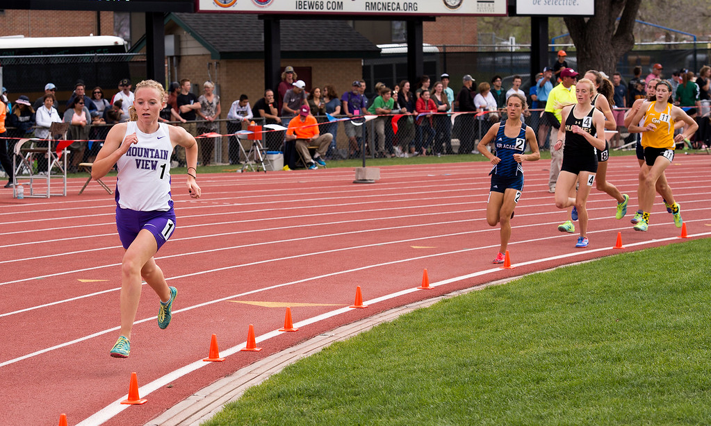 . Mountain View\'s Lauren Offerman begins to pull away from the pack during the third lap of the 4A Girls 1600-meter finals Sunday afternoon May 21, 2017 at the CHSAA State Track and Field Meet at Jeffco Stadium in Lakewood. (Michael Brian/For the Reporter-Herald)