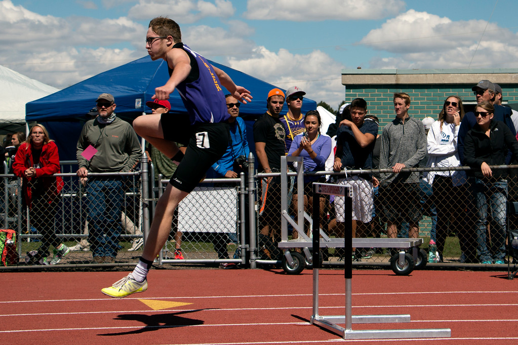 . Benjamin Jackson from Resurrection Christian School raced in the boy\'s 2A 300 meter hurdles Saturday, May 20, 2017 at Jeffco Stadium for the state championships. Jackson won with a time of 40.35 seconds. (Michelle Risinger/ Loveland Reporter-Herald)