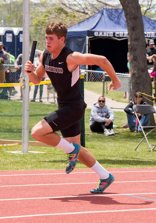 . Berthoud\'s Jake Rafferty gets his team started in the 3A Boys 4x100 finals Sunday afternoon May 21, 2017 during the CHSAA State Track and Field Meet at Jeffco Stadium in Lakewood. (Michael Brian/For the Reporter-Herald)