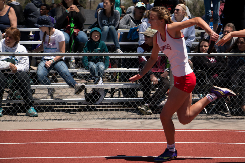 . Loveland High School Girls raced in the 5A 4x200 relay for the state championship, Saturday, May 20, 2017 at Jeffco Stadium. (Michelle Risinger/ Loveland Reporter-Herald)