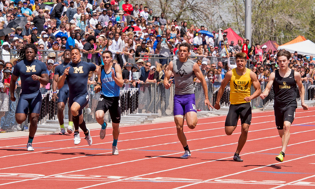 . Mountain View\'s Nolan Kembel, center right, runs to a fourth-place finish in the 4A Boys 100-meter finals Sunday morning May 21, 2017 during the CHSAA State Track and Field Meet at Jeffco Stadium in Lakewood. (Michael Brian/For the Reporter-Herald)