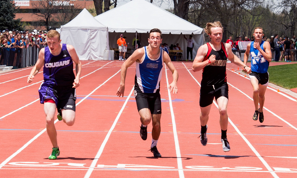 . Resurrection Christian\'s Colton Stahla fights to the finish of the 2A Boys 400-meter finals Sunday afternoon May 21, 2017 during the CHSAA State Track and Field Meet at Jeffco Stadium in Lakewood. (Michael Brian/For the Reporter-Herald)