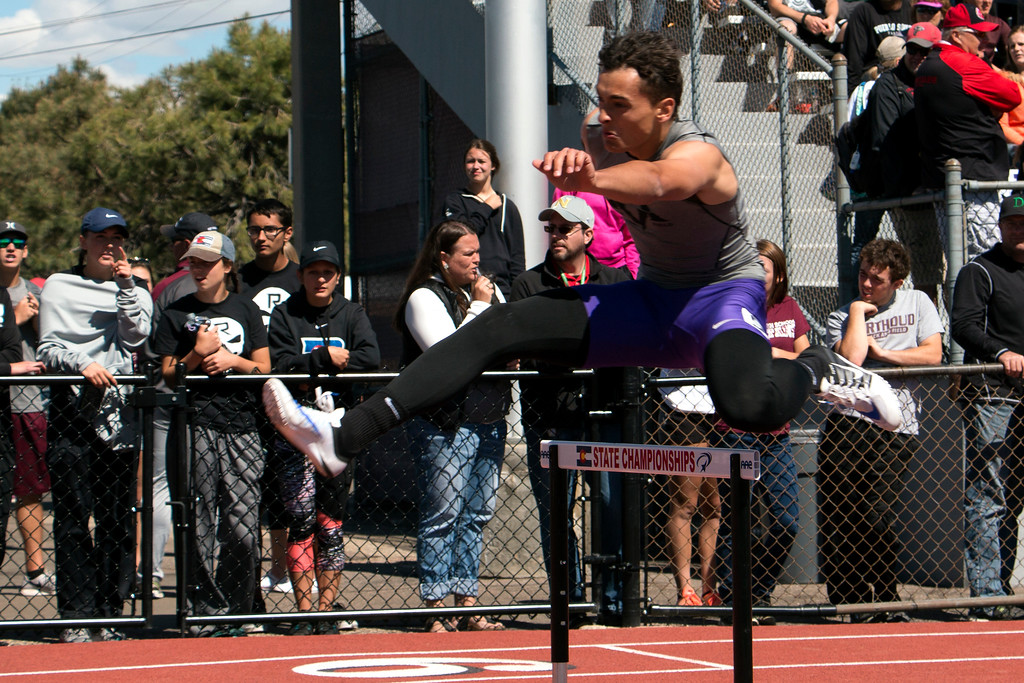 . Mountain View High School\'s Nolan Kembel competed in 4A 300 meter hurdles at Jeffco Stadium for the state championships Saturday, May 20, 2017. He won with a time of 37.94 seconds. (Michelle Risinger/ Loveland Reporter-Herald)