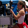 Blair Bernhardt of Loveland High School grabbed the baton in the girl's 5A 4x200 relay at Jeffco Stadium Saturday, May 20, 2017 for the state Championship. (Michelle Risinger/ Loveland Reporter-Herald)