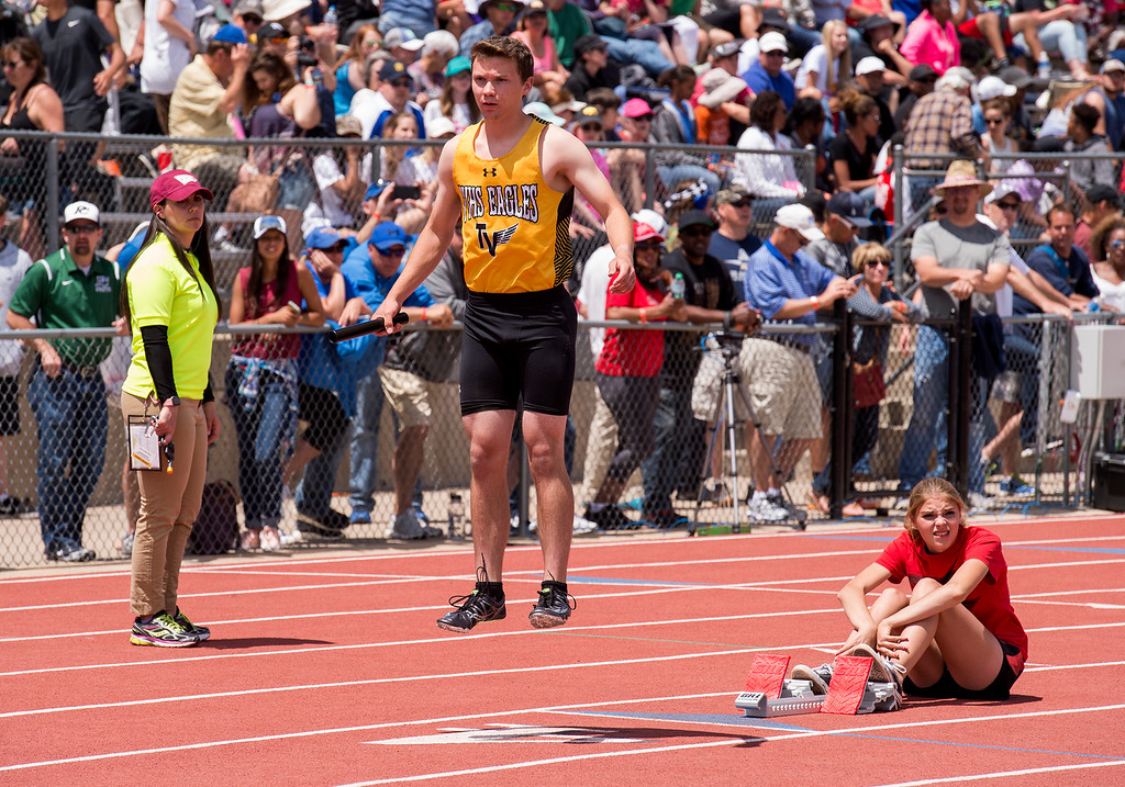 . Thompson Valley\'s Kyle Wehrung gets loose before the start of the 4A Boys 4x100 relay finals Sunday afternoon May 21, 2017 during the CHSAA State Track and Field Meet at Jeffco Stadium in Lakewood. (Michael Brian/For the Reporter-Herald)