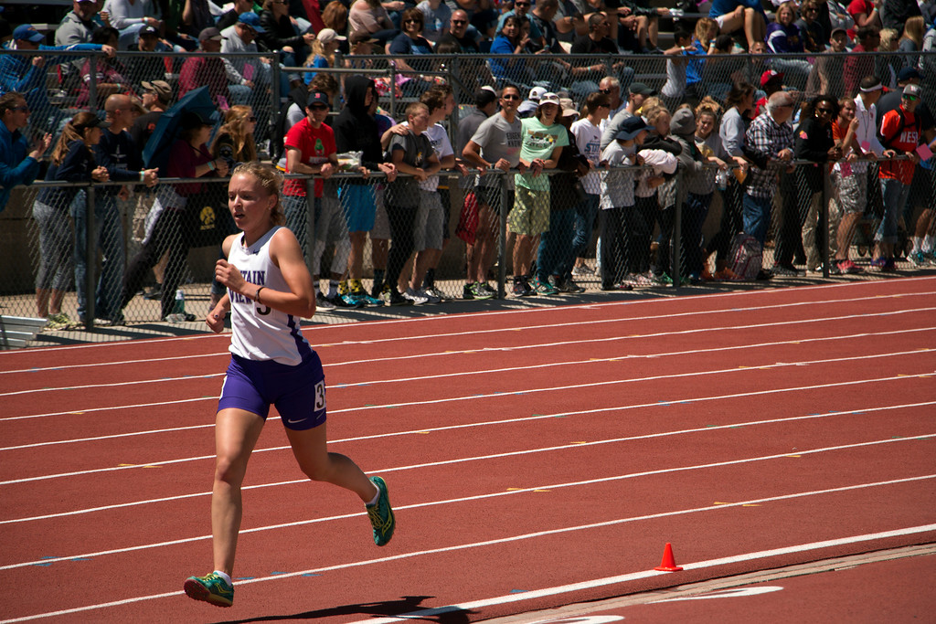 . Lauren Offerman of Mountain View High School raced in the 3200 meter at the state championships Saturday, May 20, 2017. She placed third with a time of 11:08.24. (Michelle Risinger/ Loveland Reporter-Herald)