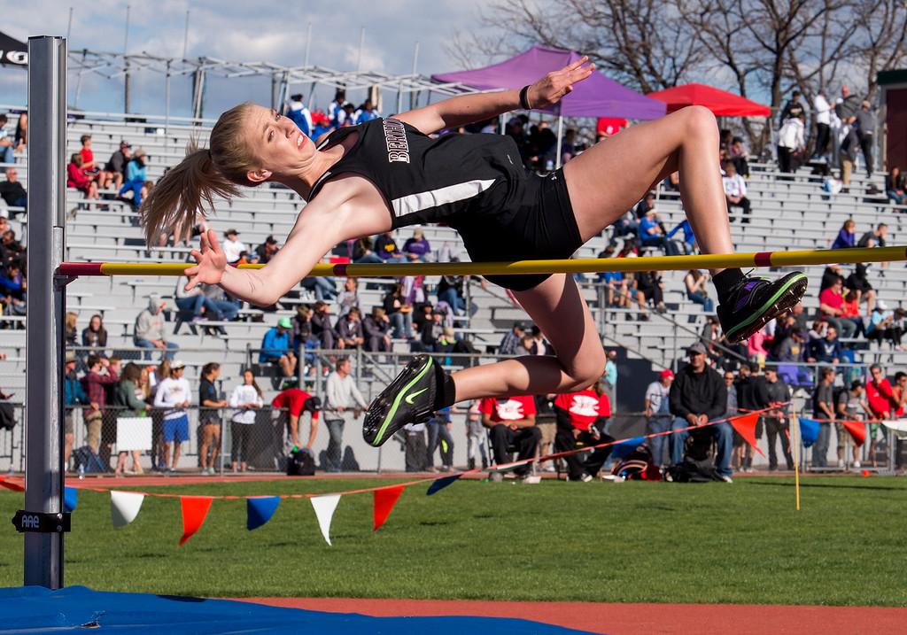 . Berthoud\'s Cailey Archer attempts to clear the bar Saturday afternoon May 20, 2017 during the 3A Girls High Jump at Jeffco Stadium in Lakewood. (Michael Brian/For the Reporter-Herald)