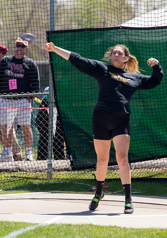 . Thompson Valley\'s Cindy Ybarra throws the discus during the 2017 CHSAA State Track finals Saturday morning May 20, 2017 at Jeffco Stadium in Lakewood. (Michael Brian/For the Reporter-Herald)