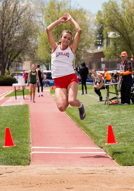 . Loveland\'s Blair Bernhardt competes in the 5A Girls Long Jump finals Sunday morning May 21, 2017 during the CHSAA State Track and Field Meet at Jeffco Stadium in Lakewood. (Michael Brian/For the Reporter-Herald)
