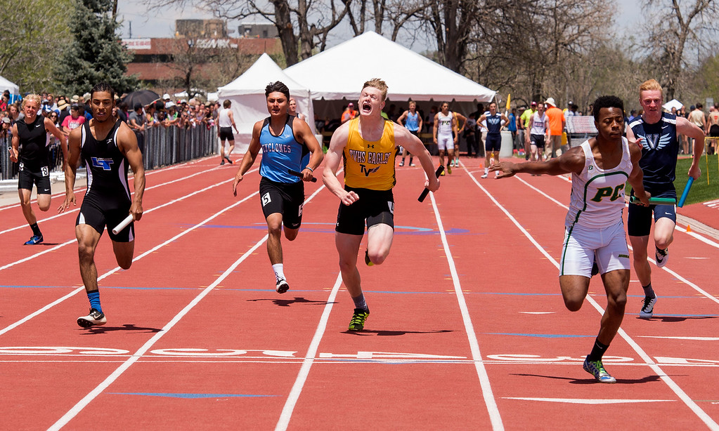. Thompson Valley\'s Charlie Brunner, center, brings the baton to the finish line Sunday afternoon May 21, 2017 in the 4A Boys 4x100 relay during the CHSAA State Track and Field Meet at Jeffco Stadium in Lakewood. (Michael Brian/For the Reporter-Herald)