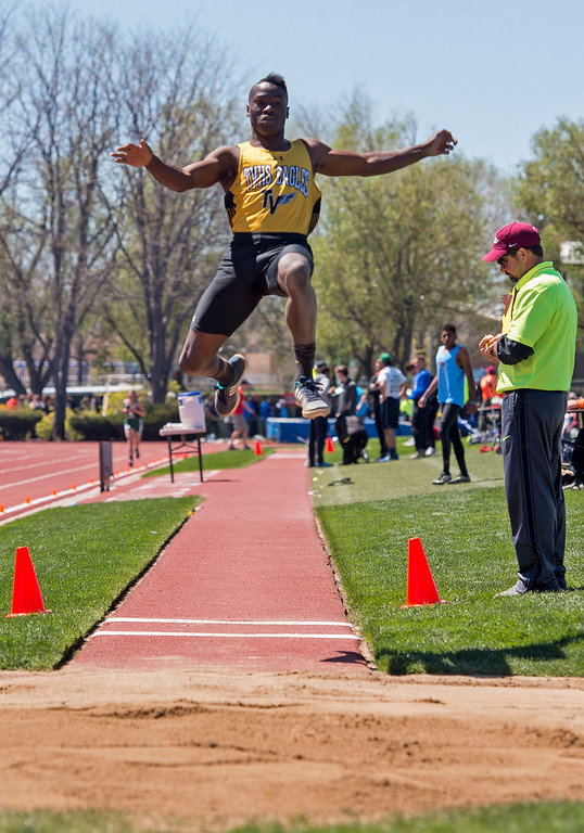 . Thompson Valley\'s Gift Chinda competes in the long jump finals Saturday morning May 20, 2017 during the 2017 CHSAA State Track Meet at Jeffco Stadium in Lakewood. (Michael Brian/For the Reporter-Herald)