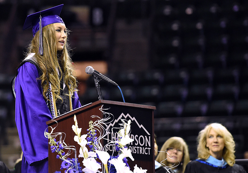 Mountain View High School valedictorian Antonia Sayers speaks to fellow graduates during their commencement ceremony Saturday, May 27, 2017, at the Budweiser Event Center in Loveland. (Photo by Jenny Sparks/Loveland Reporter-Herald)
