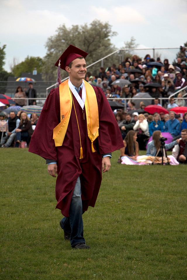 Alexander Hepp, Berthoud High School 2017 Valedictorian, makes his way to the podium for his speech at graduation on Saturday, May 28th. (Michelle Risinger/ Loveland Reporter-Herald)