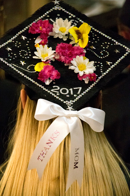 . A decorated mortar board at the Thompson Valley High School graduation ceremony at the Budweiser Events Center on May 28, 2017. (Michelle Risinger/ Loveland Reporter-Herald)