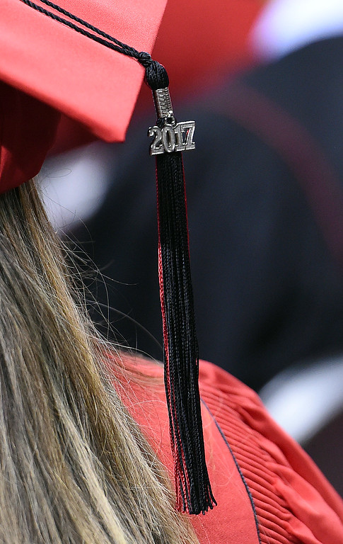 . A 2017 tassell hangs from a Loveland High School graduates cap during their commencement ceremony Saturday, May 27, 2017, at the Budweiser Event Center in Loveland. (Photo by Jenny Sparks/Loveland Reporter-Herald)