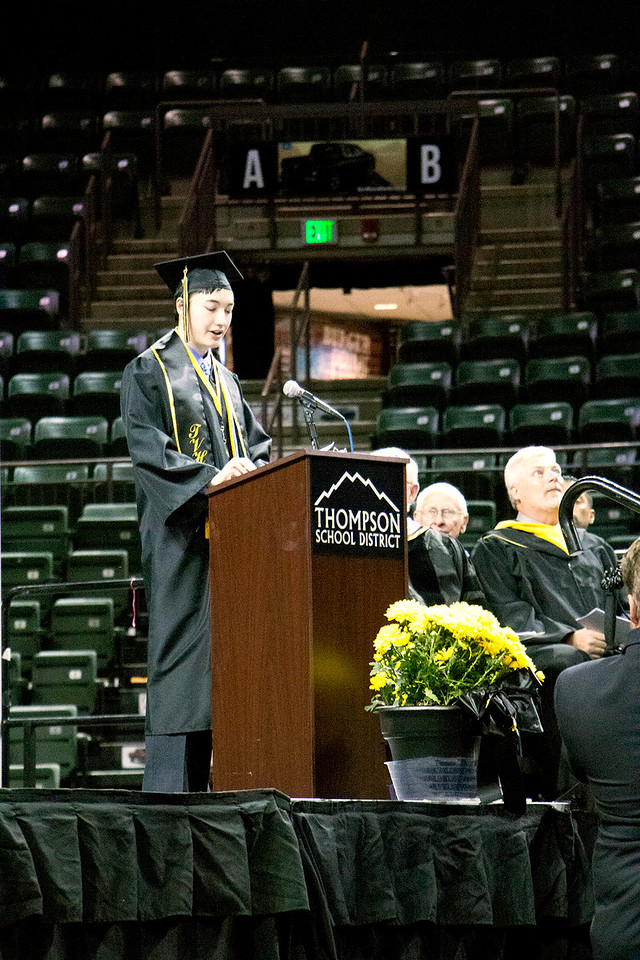 Andrew Yee, valedictorian, makes his speech at the Thompson Valley High School graduation ceremony at the Budweiser Events Center on Saturday, May 28, 2017. (Michelle Risinger/ Loveland Reporter-Herald)