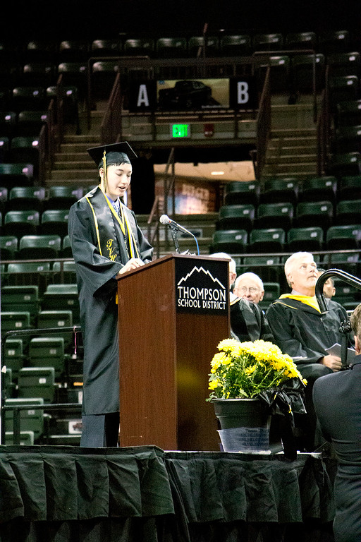. Andrew Yee, valedictorian, makes his speech at the Thompson Valley High School graduation ceremony at the Budweiser Events Center on Saturday, May 28, 2017. (Michelle Risinger/ Loveland Reporter-Herald)
