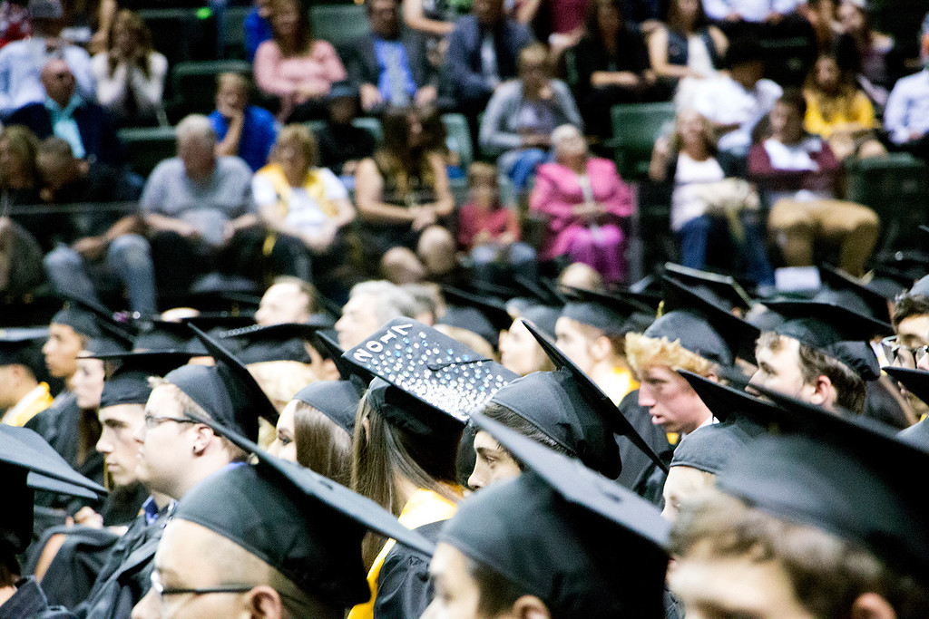 . Thompson Valley High School seniors wait to be presented their diplomas at the Budweiser Events Center on Saturday, May 28, 2017. (Michelle Risinger/ Loveland Reporter-Herald)