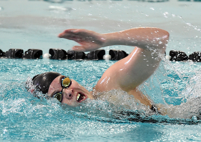 Loveland High's Grace Payton swims the 200 freestyle Wednesday, Dec. 21, 2016, during the Loveland City swim meet at Mountain View High School in Loveland. Payton took first place. (Photo by Jenny Sparks/Loveland Reporter-Herald)