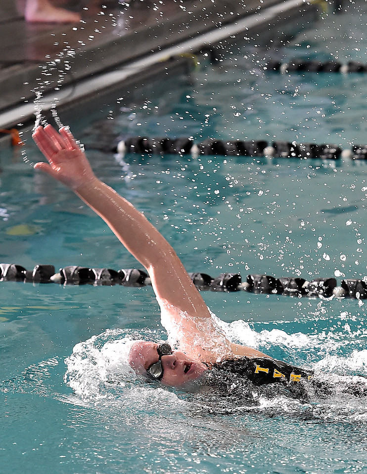 Thompson Valley's Haylee Buyers swims the 200 yard individual medley Wednesday, Dec. 21, 2016, during the Loveland City swim meet at Mountain View High School in Loveland. Buyers took first place.  (Photo by Jenny Sparks/Loveland Reporter-Herald)