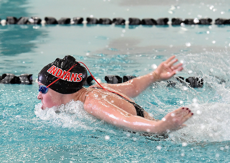 Loveland High's Josie Brohard swims the 200 yard individual medley Wednesday, Dec. 21, 2016, during the Loveland City swim meet at Mountain View High School in Loveland. Brohard took second place. (Photo by Jenny Sparks/Loveland Reporter-Herald)