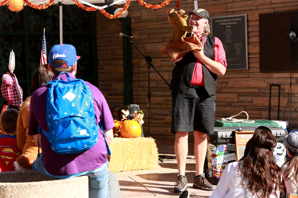 . Wayne Francis performs his hand puppet act for attendees of the Halloween Family Fun Festival in Loveland on Oct. 27, 2018.Photo by Taelyn Livingston/ Loveland Reporter-Herald