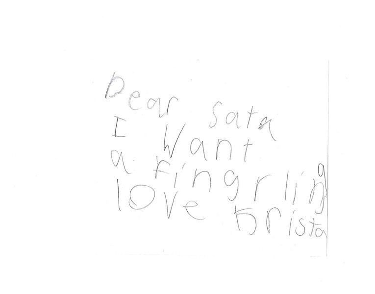 Dear Santa<br /> I want a fingerling<br /> Love Krista