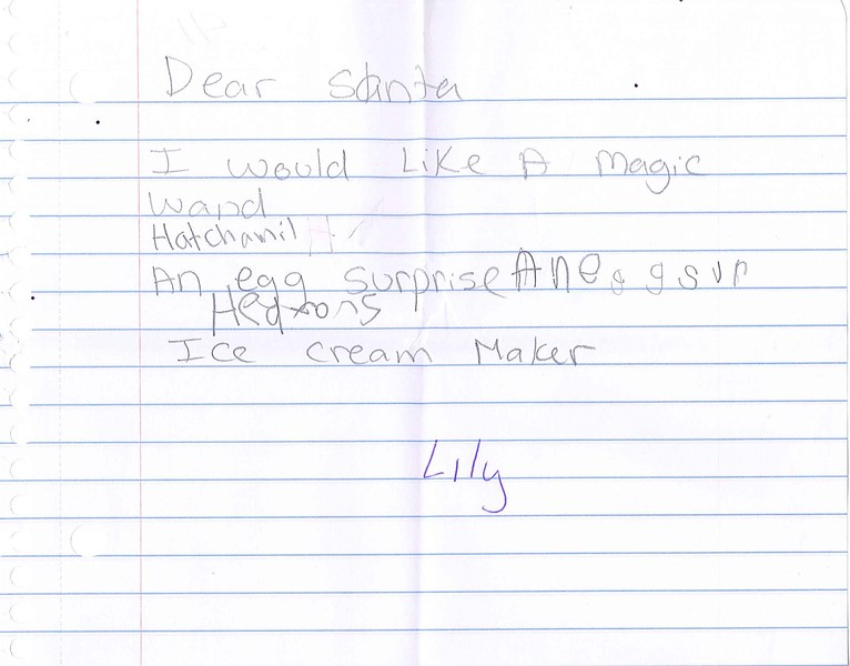 Dear Santa<br /> <br /> I would like a magic wand<br /> Hatchamil<br /> An egg surprise<br /> Ice Cream Maker